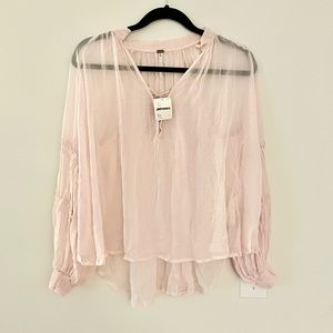 Free People pink sheer blouse NWT